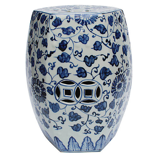 Alban Garden Stool, Blue/White