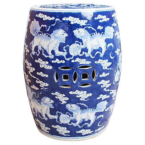 Fasano Garden Stool, Blue/White