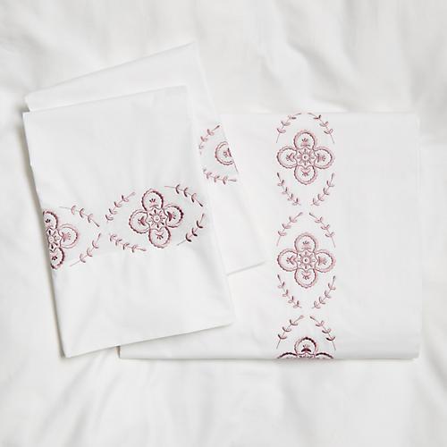 Floral Sheet Set, Satin Wine