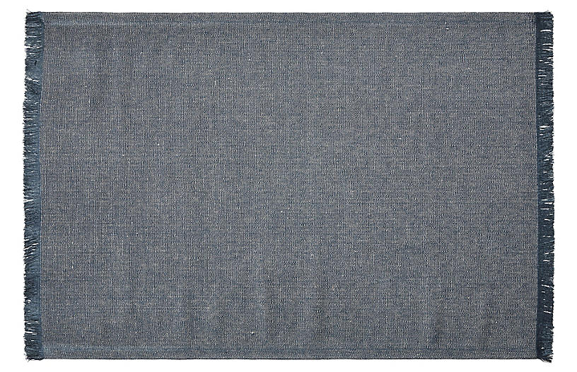 Belgian Linen Rug, Navy