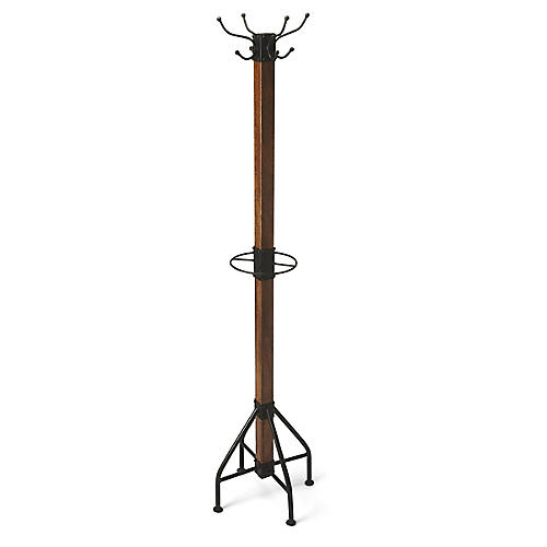 "74"" Dauphin Coat Rack, Black/Natural"