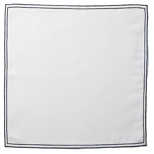 Reshu Dinner Napkin, White/Blue