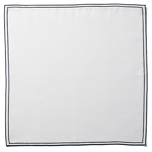 Reshu Dinner Napkin, White/Navy