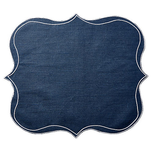 Vaati Place Mat, Blue/White