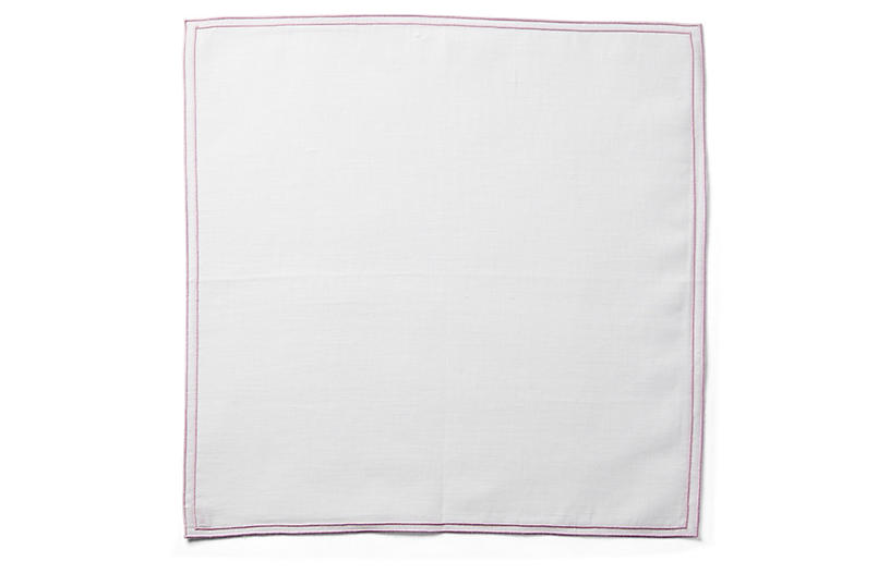Reshu Dinner Napkin, White/Powder Rose