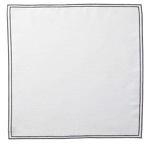 Reshu Dinner Napkin, White/Charcoal