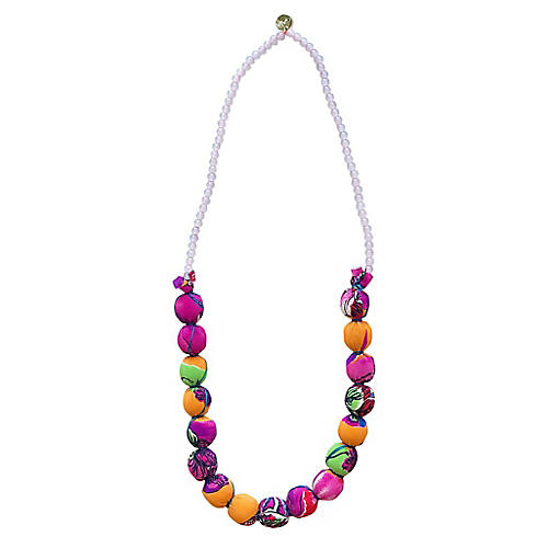 Beaded Tropicana Necklace, Magenta/Multi
