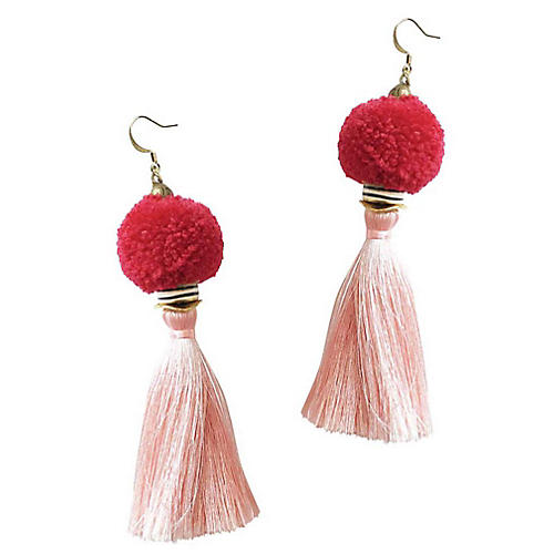 Tassel Pom-Pom Drop Earrings, Rose