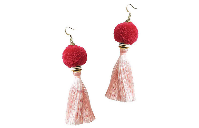 Tassel Pom-Pom Drop Earrings, Rose