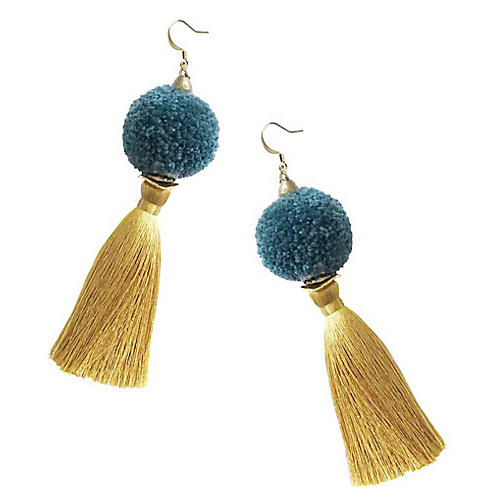 Tassel Pom-Pom Drop Earrings, Teal
