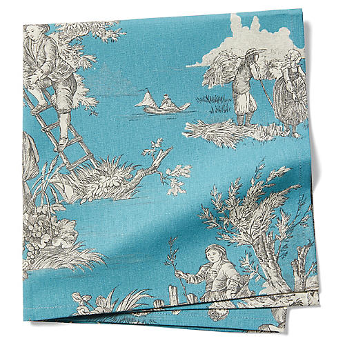 S/2 Indiennes Dinner Napkins, French Blue