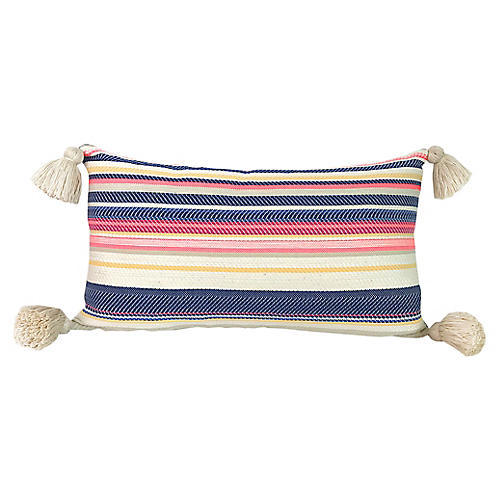 Aimee 11x19 Tassel Pillow, Denim/Multi