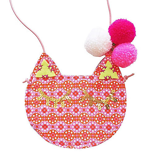 Daisy Mini Kitty Cotton Purse, Pink/Multi
