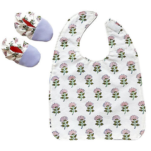 Blush Blooms Cotton Bib & Bootie Set, White/Multi