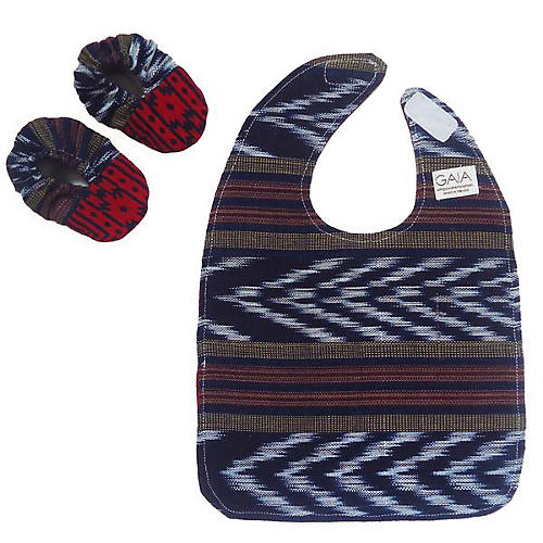 Itty Ikat Cotton Bib & Bootie Set, Blue/Red