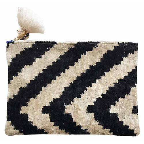 Mila Reversible Silk Pouch, Black/Ivory