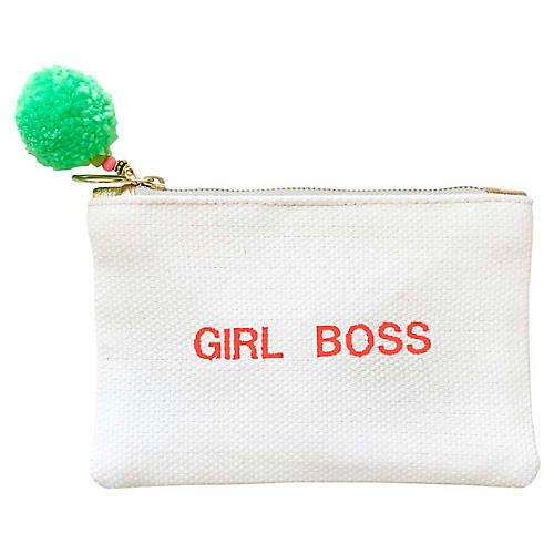 Girl Boss Reversible Leather Pouch, White/Pink
