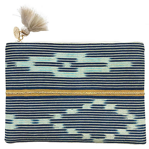 Azul Reversible Baule Cloth Pouch, Indigo/White