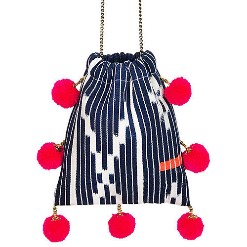 Skyward Pom-Pom Handbag, Navy/Pink