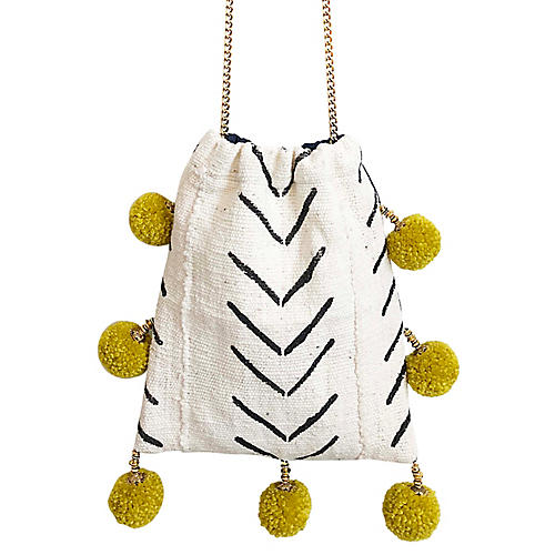 Safari Stripe Pom-Pom Handbag, White/Black