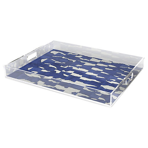 Abstracted Blue Decorative Tray
