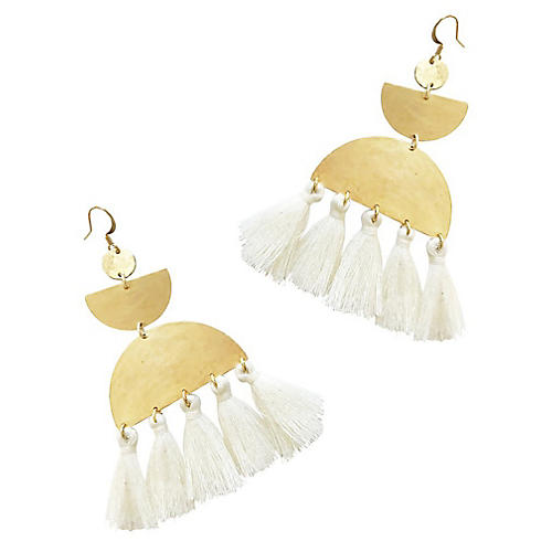 Coco Drop Earrings, White