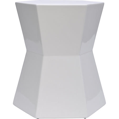 Facet Outdoor Side Table, White