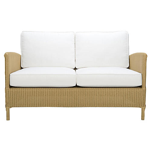 Deauville Outdoor Loveseat, Whitewash