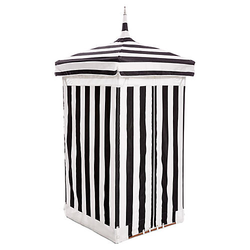Exuma Outdoor Cabana, Black/White Sunbrella