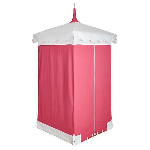 Exuma Outdoor Cabana, Pink/White Sunbrella