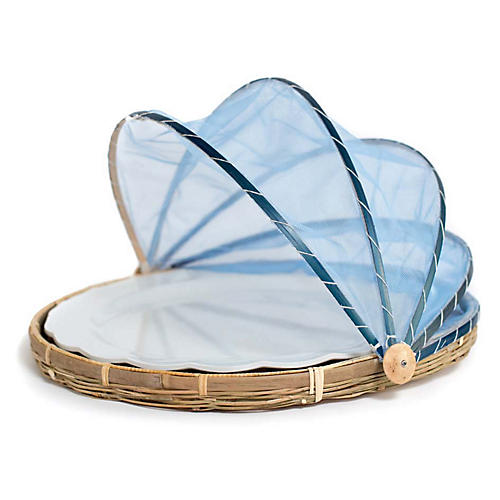 Honor Covered Serving Plate, Natural/Blue
