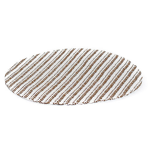 S/4 Striped Place Mats, White/Tan