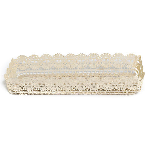 "12"" Crocheted Rectangular Tray, Natural"