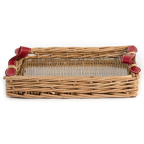 Island Decorative Tray, Natural/Red