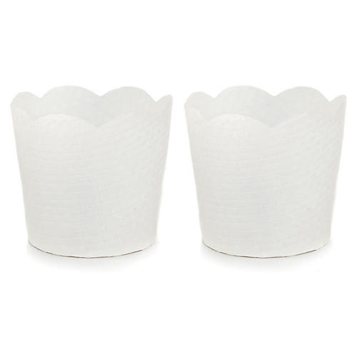 S/2 Orchid Decorative Baskets, Off-White