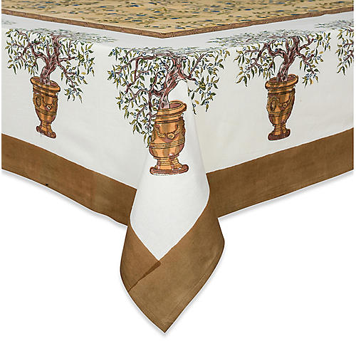 Olive Tree Tablecloth, Gold/Multi