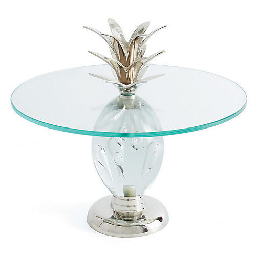 Pineapple Cake Stand, Clear/Silver