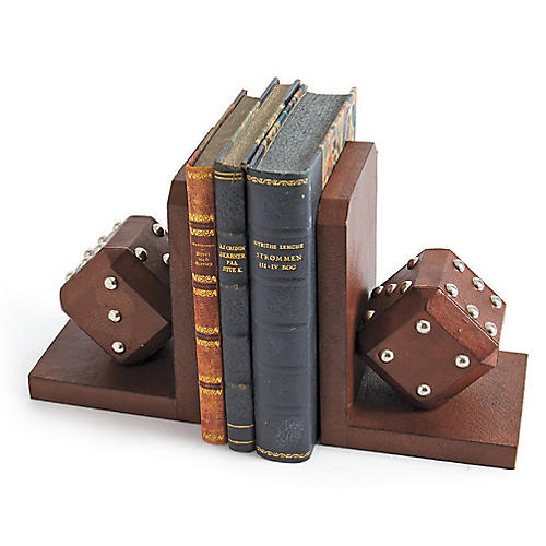S/2 Bluff Leather Bookends, Walnut/Nickel