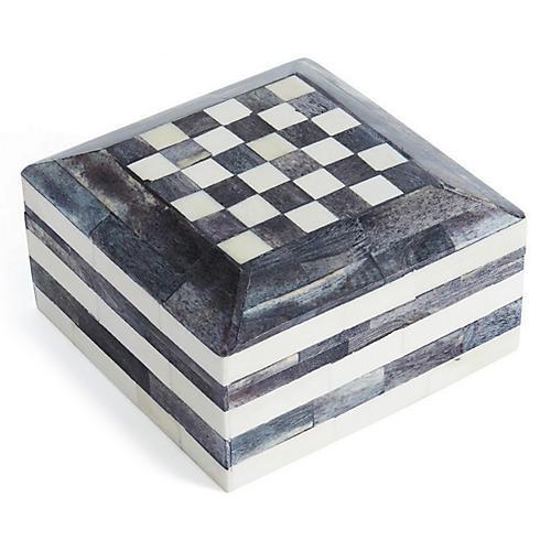 """6"""" Tumen Box, Gray/Ivory"""