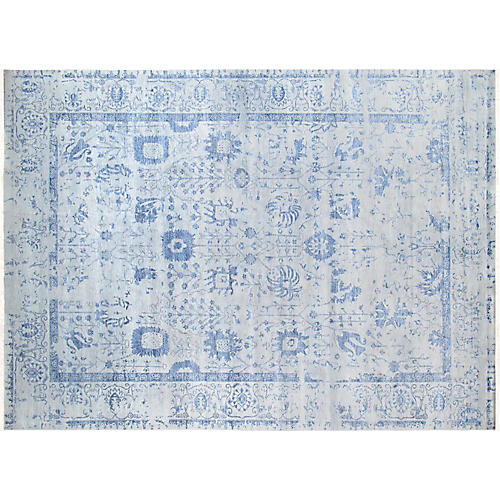"8'1""x10'3"" Transitiona Hand-Knotted Rug, Blue"