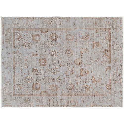 "9'10""x14'5"" Transitiona Hand-Knotted Rug, Gray"