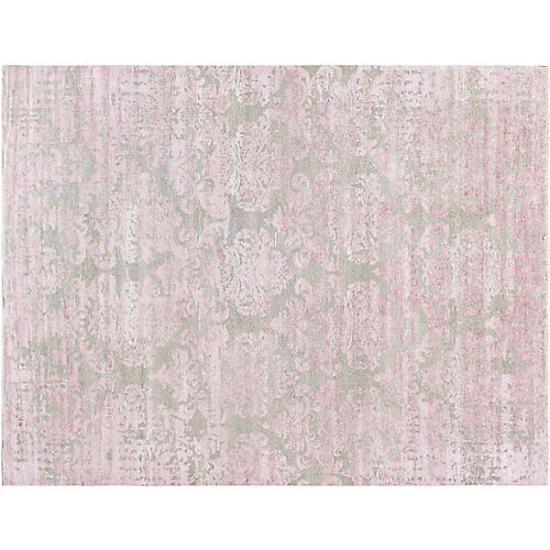 "8'9""x5'9"" Transitiona Hand-Knotted Rug, Pink"