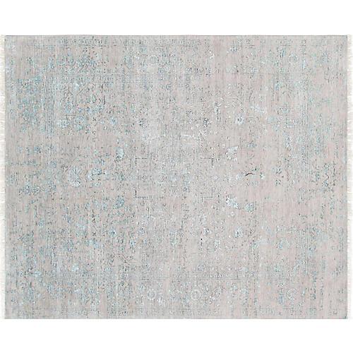 "9'1""x12' Serapi Hand-Knotted Rug, Ash/Blue"