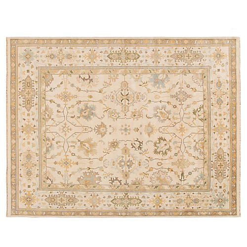"9'3""x11'9"" Indo Oushak Rug, Ivory/Light Blue"