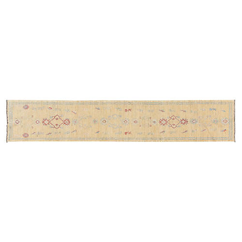 "2'8""x15'3"" Persian Oushak Runner, Yellow"