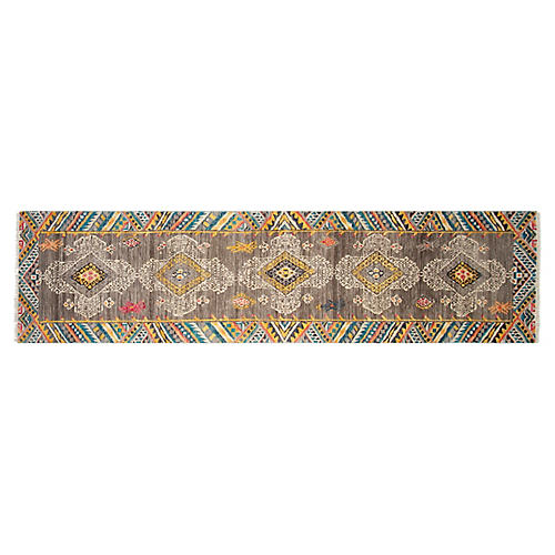 "2'6""x10' Adventure Hand-Knotted Runner, Gray"