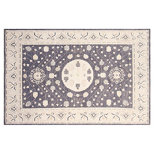 5'x7' Khotan Hand-Knotted Rug, Stone