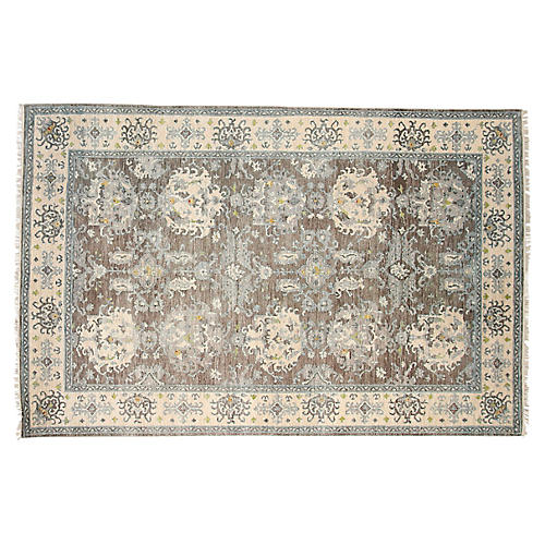 "5'6""x8'6"" Oushak Hand-Knotted Rug, Gray/Ivory"