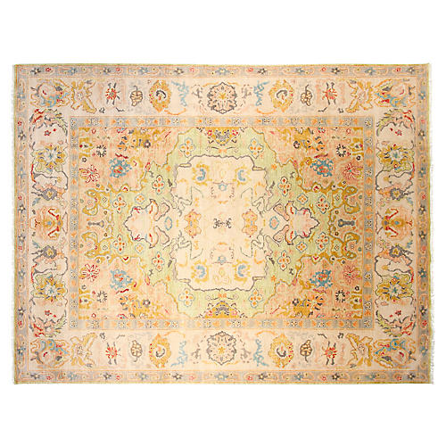 "9""x12"" Harris Hand-Knotted Rug, Gold"