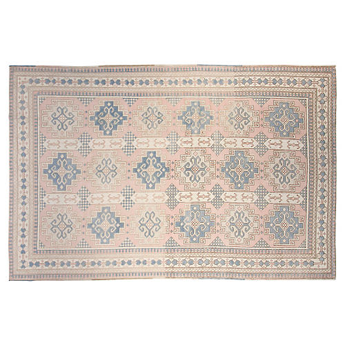 "7'10""x12"" Turkish Hand-Knotted Rug, Pink/Blue"
